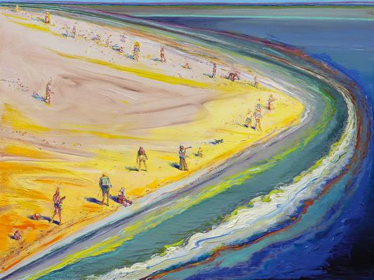 Wayne Thiebaud |  Triangle Beach, 2003-2005  |  oil on canvas  |  30x140 inches | Acquavella Galleries