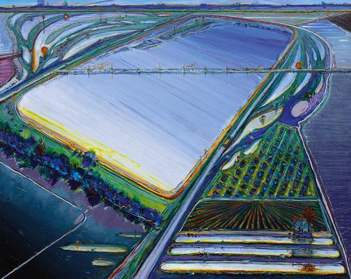 Wayne Thiebaud |  Flood Waters, 2006/2013  |  oil on canvas  |  48x60 inches | Acquavella Galleries