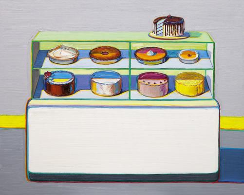 Wayne Thiebaud |  Cold Case, 2010/2011/2013  |  oil on canvas  |  48x60 inches | from the artist's studio