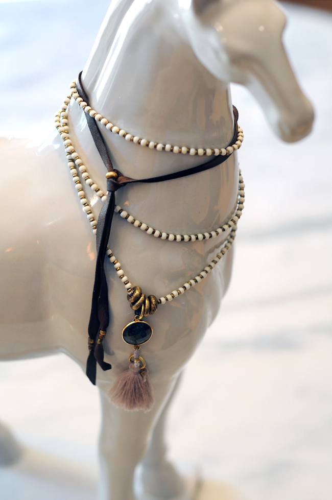 Depetra Mala necklace: Bone, Beads, Labradorite and small tassel