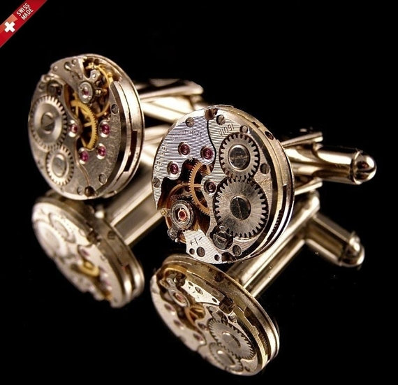 STEAMPUNK LUXURY  SIWISS MADE CUFF LINKS –MADE FROM WATCH  GEARS