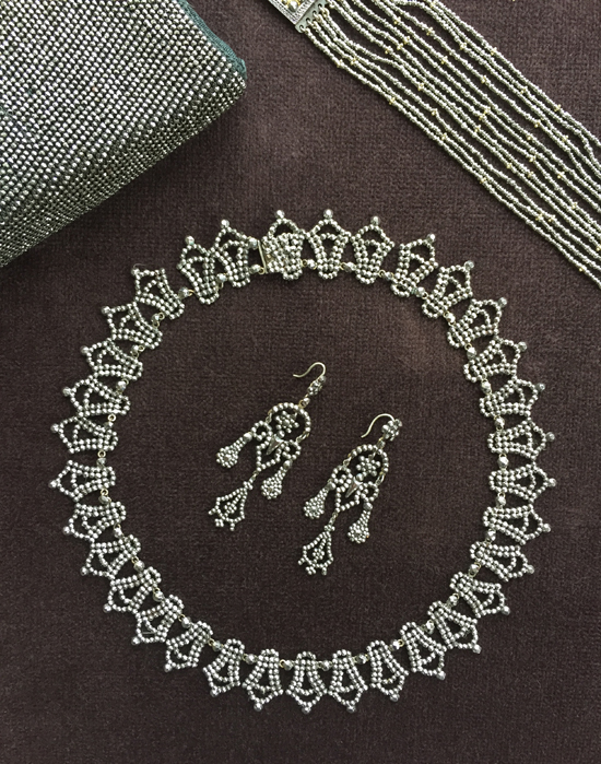 Late-Victorian cut steel earrings and necklace, private collection