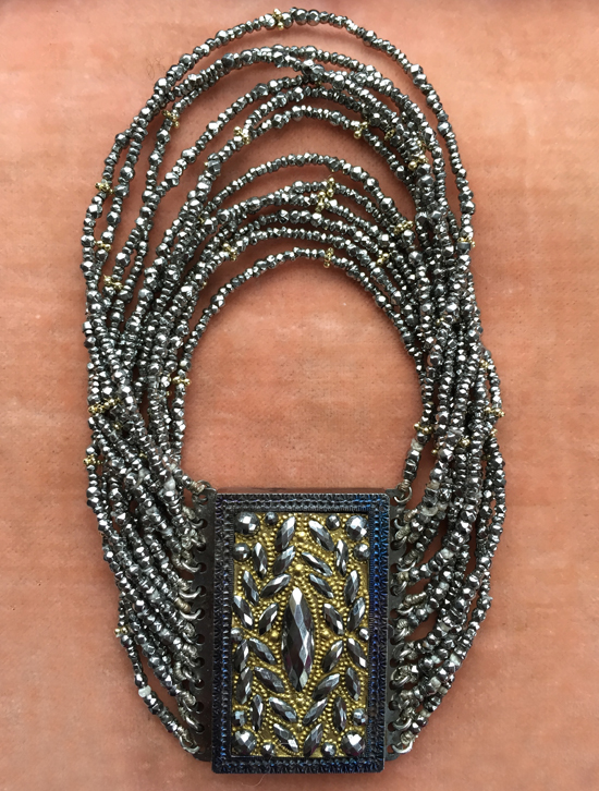Georgian era rectangular plaque clasp (1830s) married with mid-Victorian cut-steel beads: designed by Babbs Shoemaker / private collection