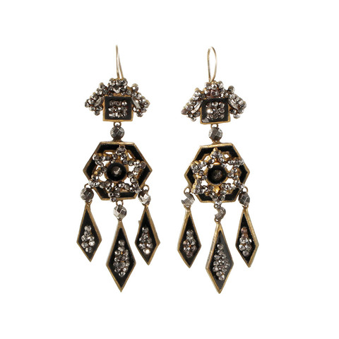 Splurge: Early-Victorian Chandelier cut steel earrings available at Bell & Bird