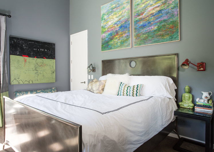 Master bedroom // paintings over the bed by Unni Wood