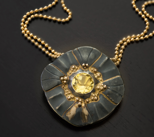Melissa's Signature Style  |  Golden Citrine Flower | Black and Gold series | Oxidized sterling silver and 14K gold pendant set with a yellow Citrine gemstone