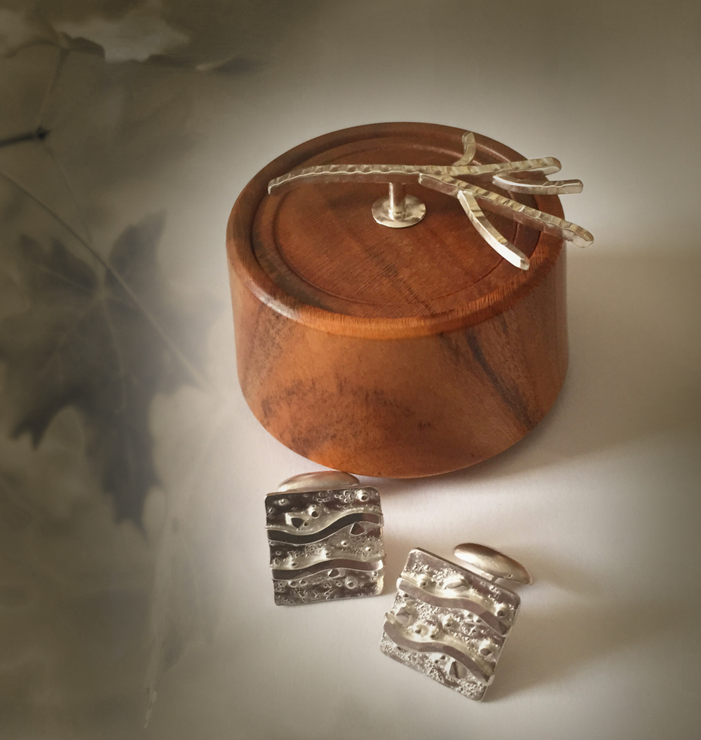 Men's River cufflinks in a handmade wooden box with silver twig | Available at the Gala Auction Event Thursday, July 30th. Click here to learn more about the Opening night gala Fundraiser / Fashion Showat the Montage, Deer Valley.