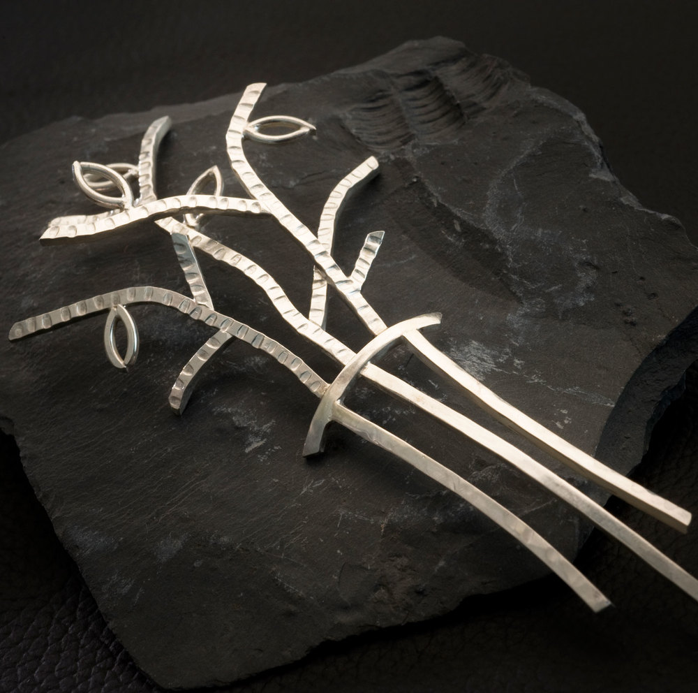 Twig Hair Comb  (Twig series) Sterling silver