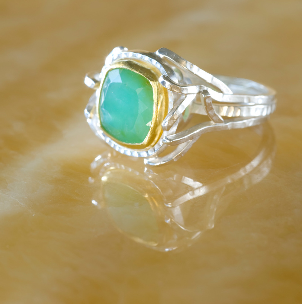 Peruvian Opal Ring (Twig series) Sterling silver with a Peruvian opal set in 22K Gold.