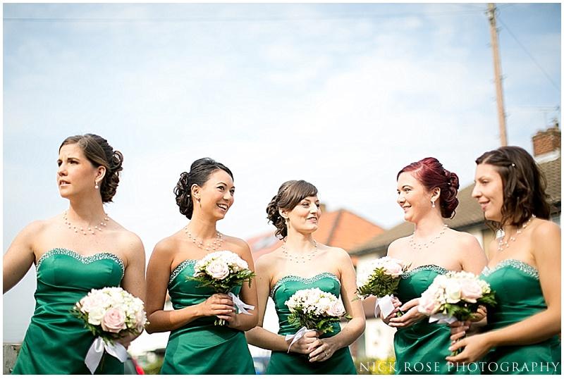 Wedding bridesmaids in green