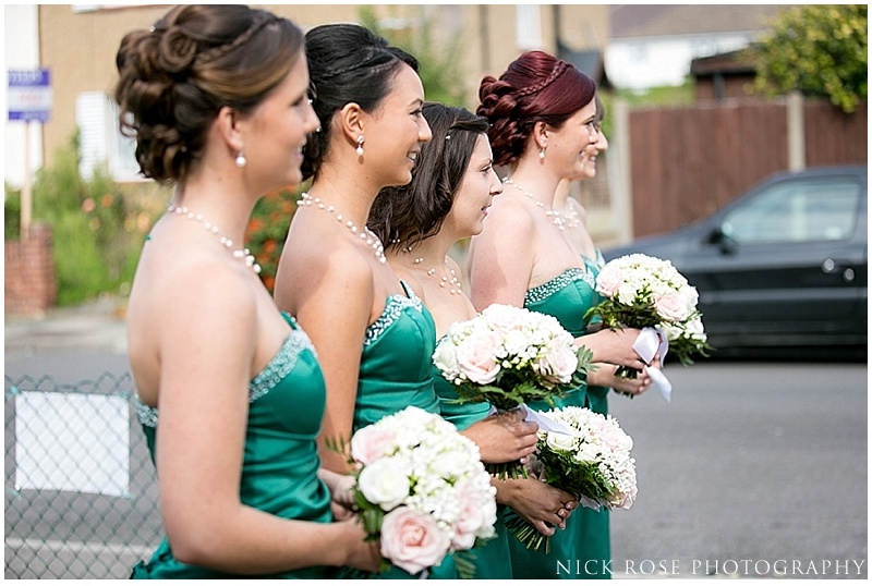 Wedding bridesmaids in green