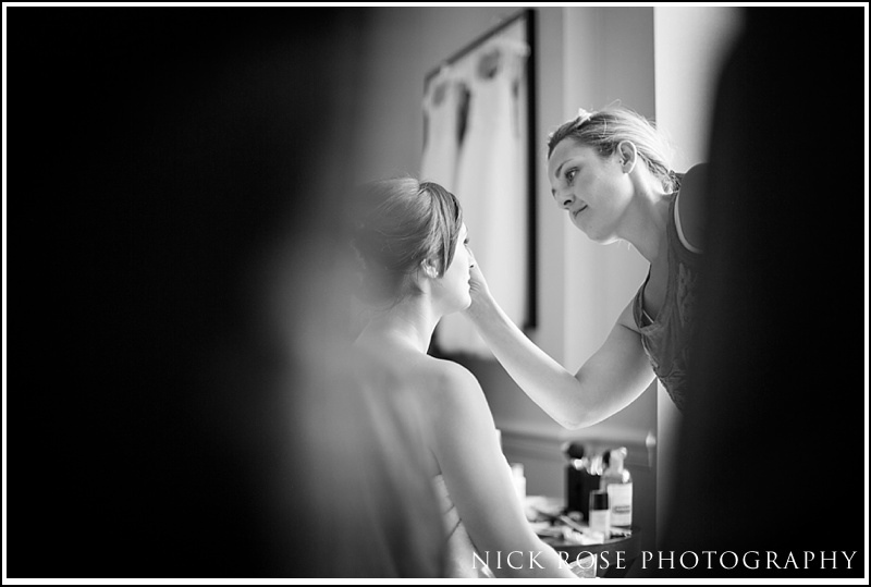 Bride preparation photography Kensington roof gardens
