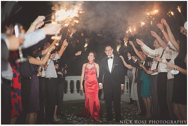 Singapore wedding sparkler exit