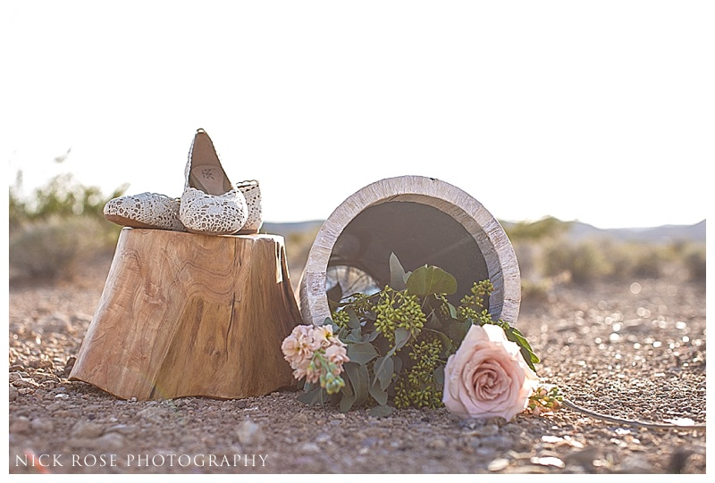 wedding shoes and flowers for an outdoor desert wedding