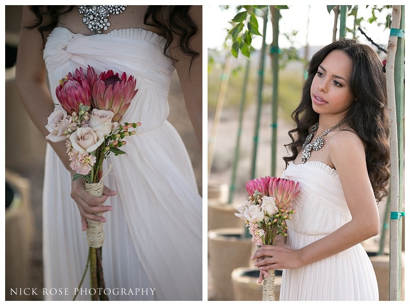 desert wedding flowers and bridesmaid