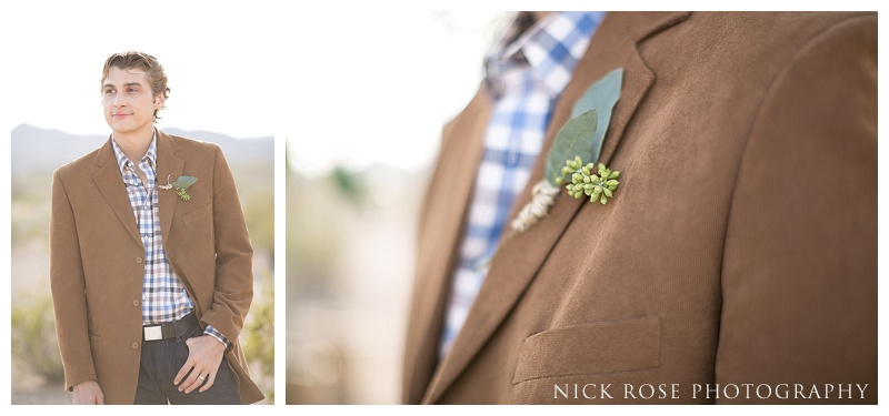 Groom wedding details checked shirt