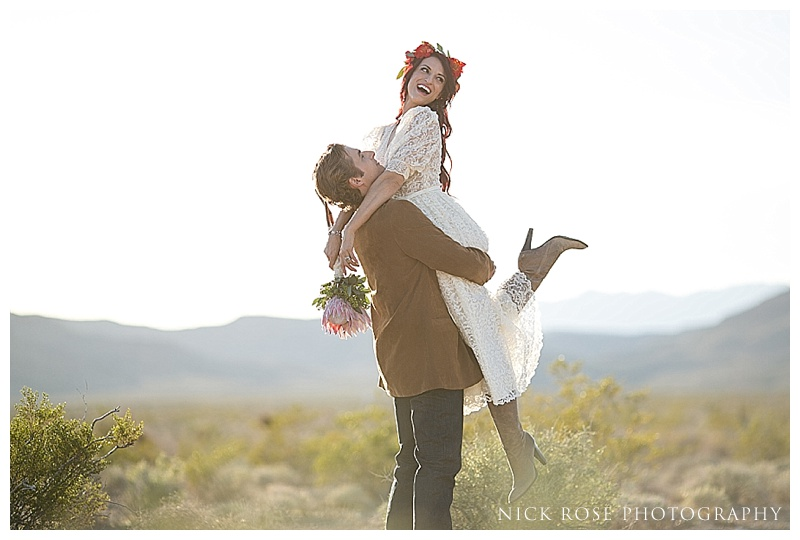 Bride in cowboy boots in the desert