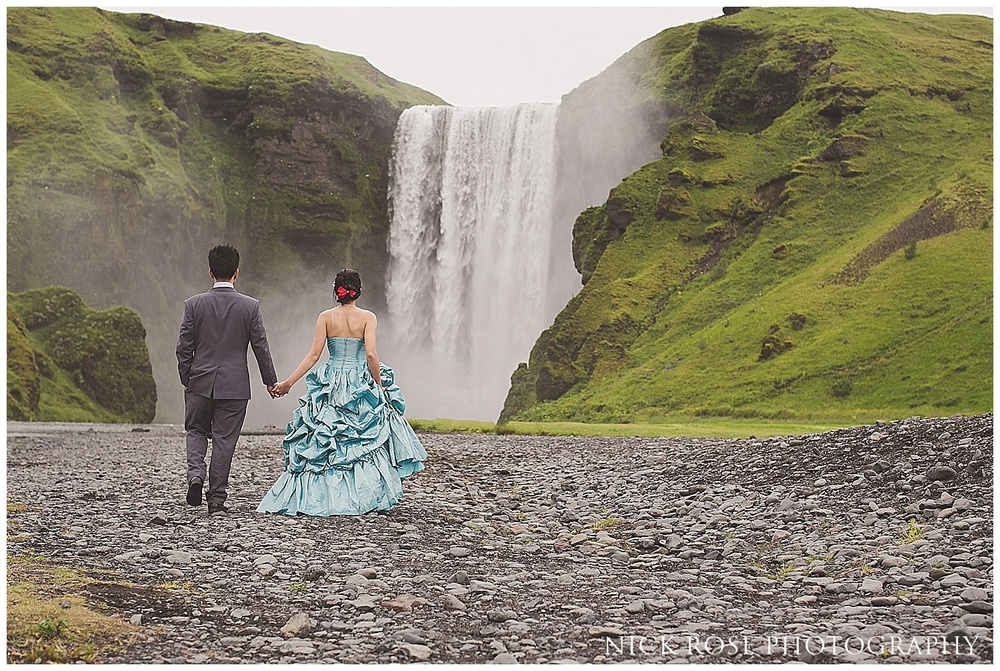Iceland pre wedding photography Skogafoss