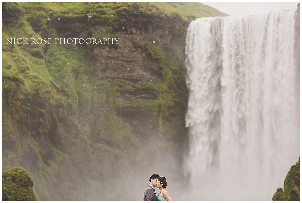 Waterfall engagement photography Iceland