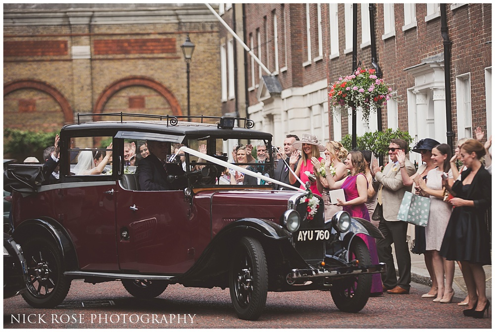 Vintage London wedding taxi