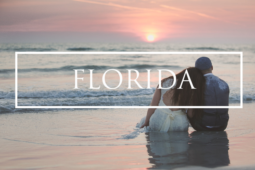 Sunset destination beach wedding Florida