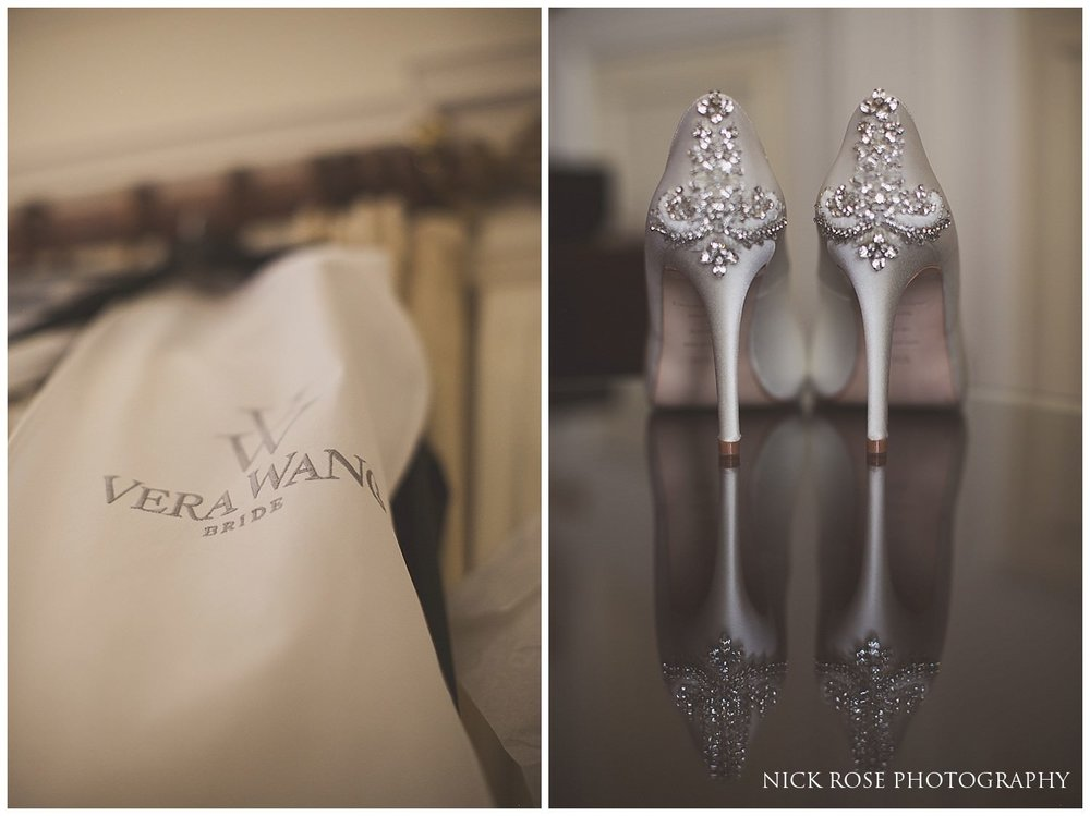 Vera Wang wedding dress and diamond encrusted shoes for a Danesfield House wedding in Buckinghamshire