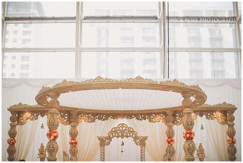 Hindu mandap setup in Canary Wharf in London