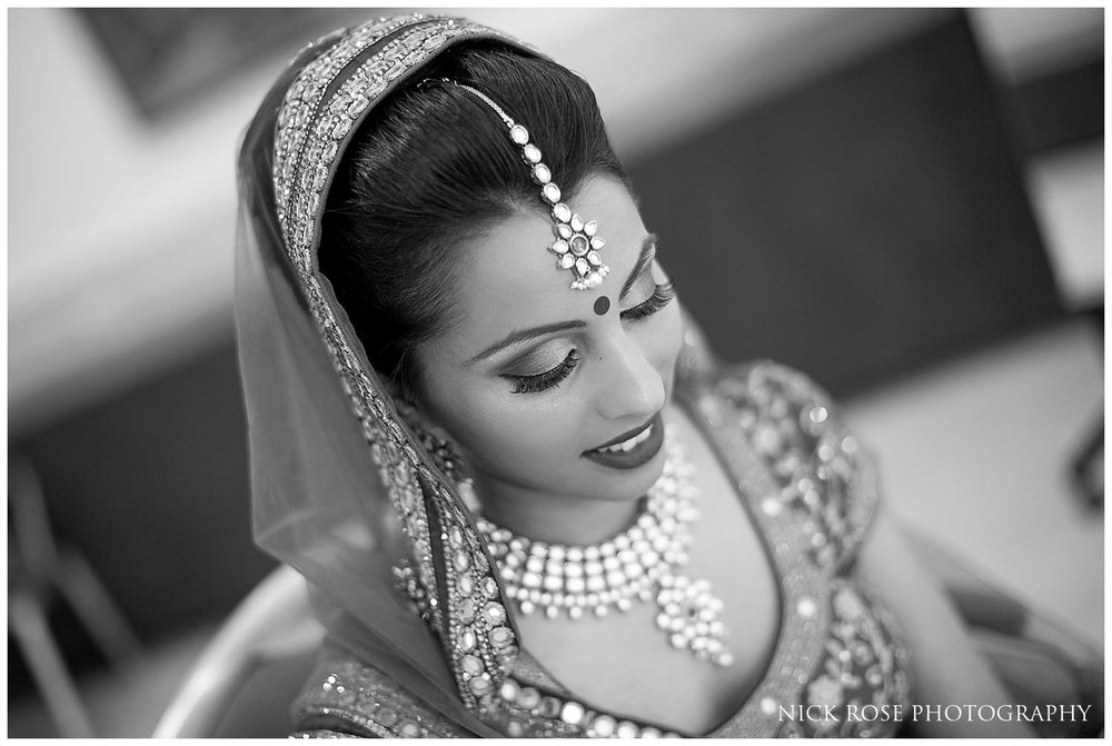 Asian bride at East Wintergarden Hindu wedding in Canary Wharf London