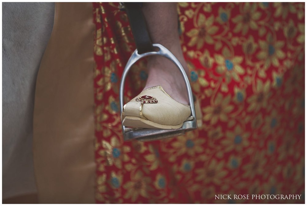 Hindu wedding shoe inside a stirrup before an Indian wedding in London