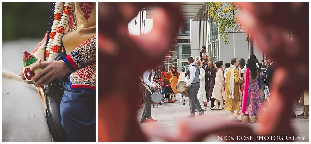 Canary Wharf Hindu wedding baraat entrance in London