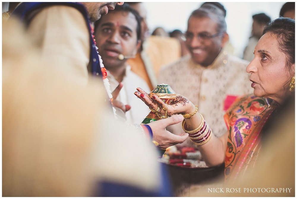 Groom's hindu wedding blessing before the ceremony