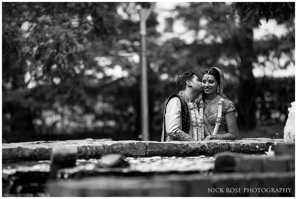 Hindu wedding photography portrait at East Wintergarden in London