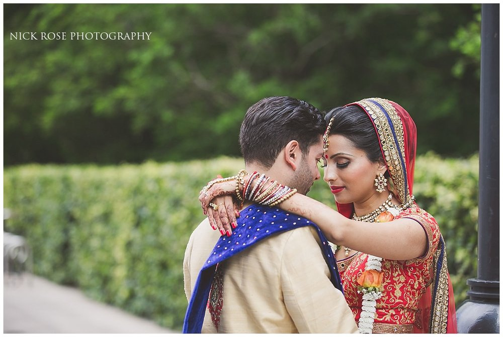 Hindu wedding portraits with the Indian bride and groom at an East Wintergarden wedding