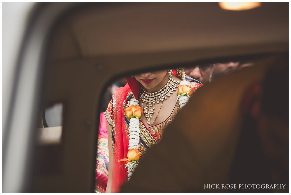 Bride's farewell vidaai after a hindu wedding at the East Wintergarden in London