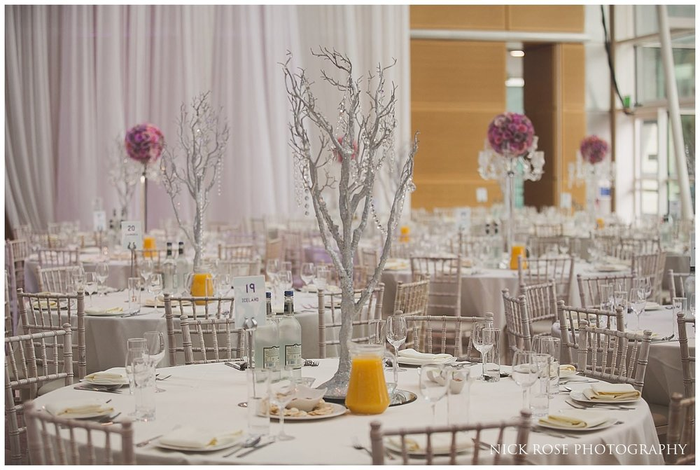 Table arrangement for an East Wintergarden Indian wedding in London