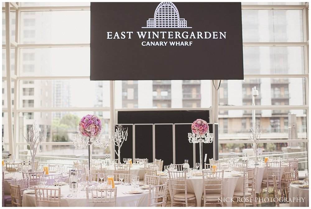 East Wintergarden Indian wedding reception setup