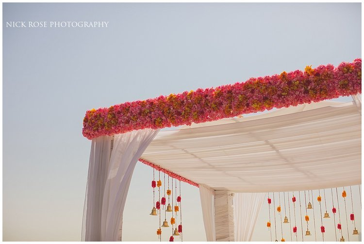 Hindu wedding Mandap on the beach at the Sofitel Palm Dubai