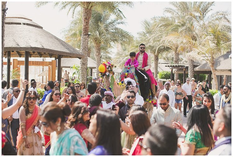 Dubai beach wedding Barrat entrance for a Hindu wedding at the Sofitel Palm