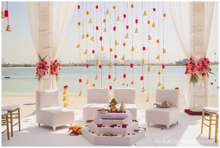 Destination Hindu wedding mandap on the beach in Dubai