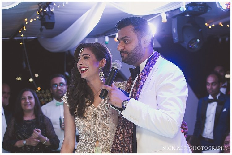 Bride and groom wedding speech on a private yacht at Dubai marina