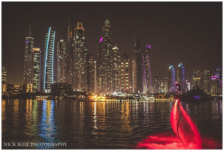 Flyboard display performance during an Indian wedding at the Dubai Marina Yacht Club