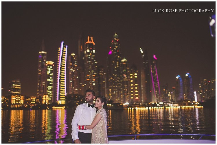 Night skyline wedding photograph of an Indian couple in Dubai