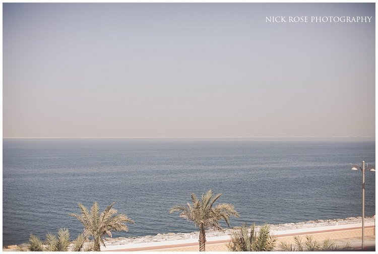 Blue sky and beach views at a Sofitel Palm Dubai Asian wedding