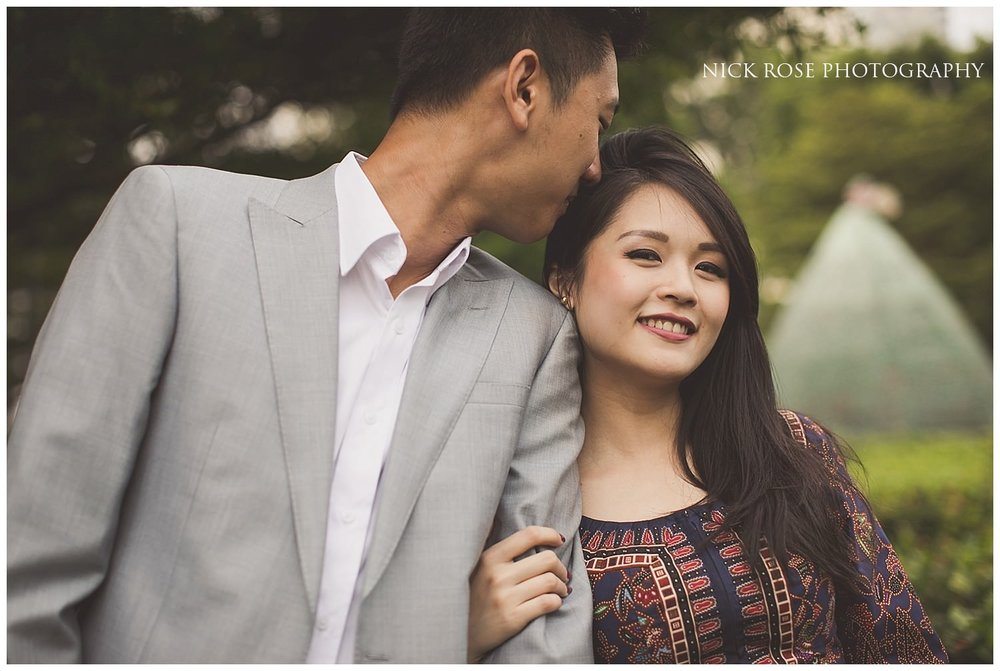 A romantic moment during a Singapore pre wedding photography shoot