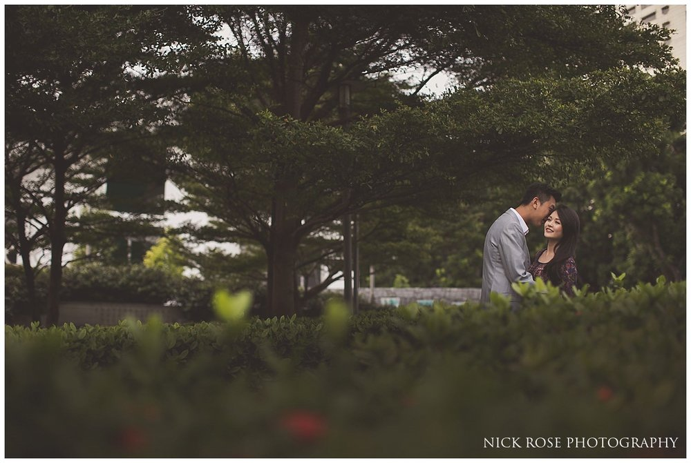 Couple hugging during a Singapore pre wedding photography shoot at Marina Bay