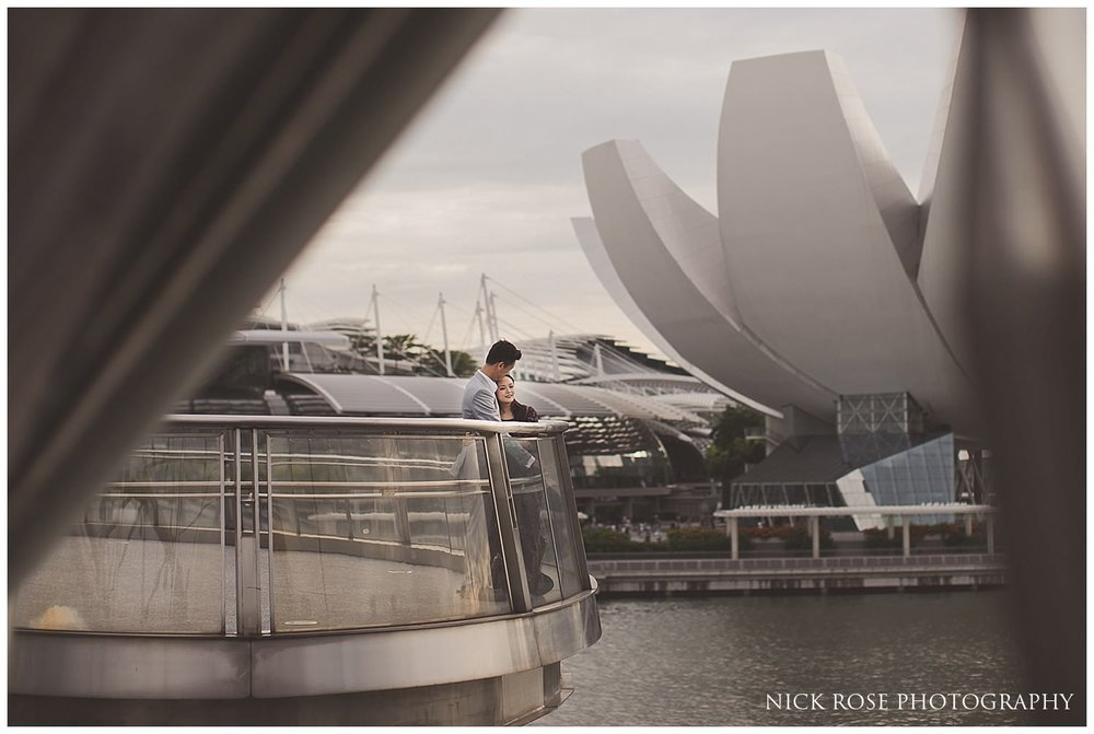 A pre wedding photograph of a couple at Marina Bay in Singapore
