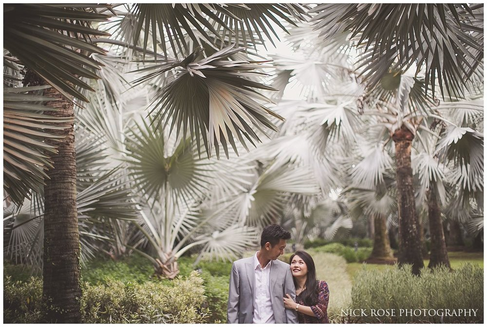 Couple holding each other at the Gardens By the Bay for a Singapore pre wedding photography shoot