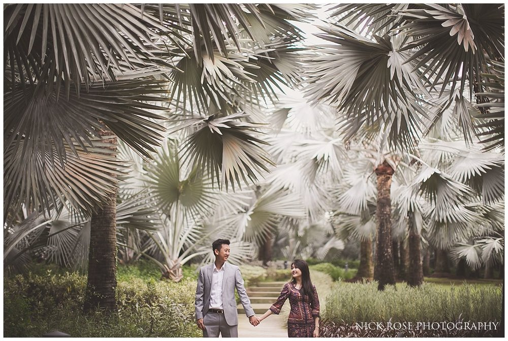 Couple holding hands at the Gardens By the Bay for a Singapore pre wedding photography shoot
