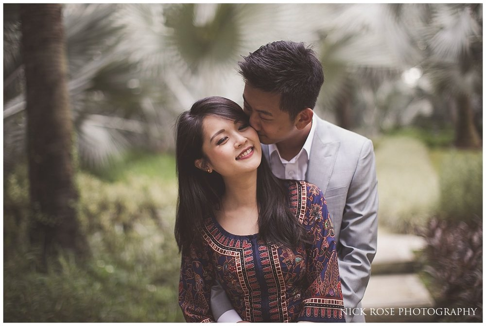 Pre wedding photography couple hugging each other at Gardens by the Bay in Singapore