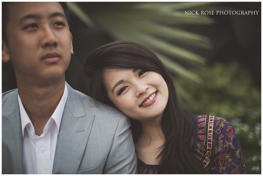 Girl resting her head on her fiance's shoulder during a Singapore pre wedding shoot